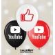 Воздушный шарик (KDI, 30 cм) YouTube, Like микс 50 шт. 1 ст.