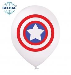 Воздушный шарик (В105, 30 cм) Шарик  с рисунком герои щит , красный , синий, 25 шт. арт. 258-0181