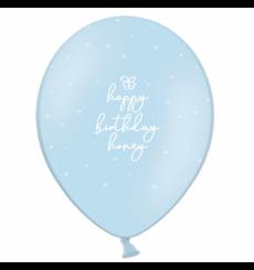 Воздушный шарик (B105,  30 cм), Happy Birthday honey на голубом  10/25/50 шт. 1 ст. арт. 258-0085