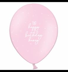 Воздушный шарик (B105,  30 cм), Happy Birthday honey на розовом  10/25/50 шт. 1 ст. арт. 258-0084