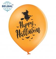 Воздушный Шарик (B105, 30см) Happy Halloween (Оранжевые) 25шт., арт. 258-0184