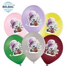 Воздушный шар (B105, 30 см) Halloween (мишка с тыквой ассорти 25 шт. арт. 258-0191