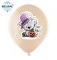 Воздушный шар (B105, 30 см) Halloween (мишка с тыквой на бежевом) 25 шт. арт. 258-0189