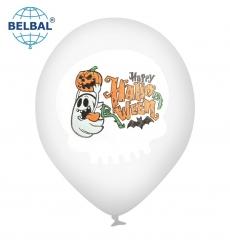 Воздушный шар (B105, 30 см) Halloween (привидение с тыквой на прозрачном) 25 шт. арт. 258