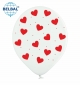 Воздушный шарик (B105,  30 cм), красные сердечки на белом фоне, 25 шт. 5 ст.