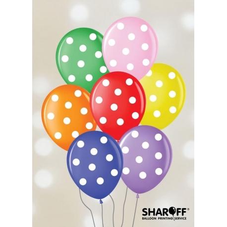 Воздушный шар (12'' 30 cм) Горох крупный, Пастель микс 50 шт.5